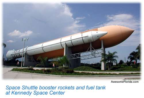 Shuttle booster rockets and fuel tank